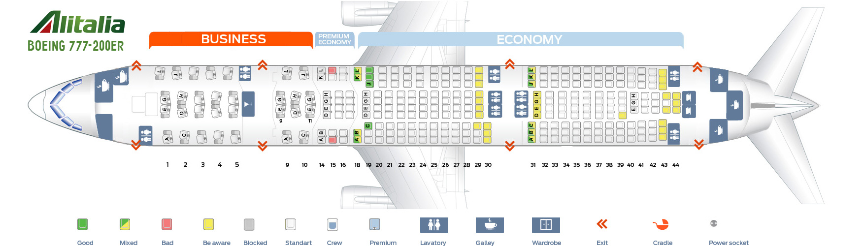 Seat Map Boeing 777-200ER Alitalia Airlines