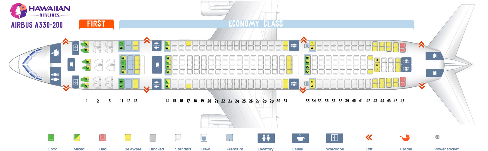 Seat map Airbus A330-200 Hawaiian airlines