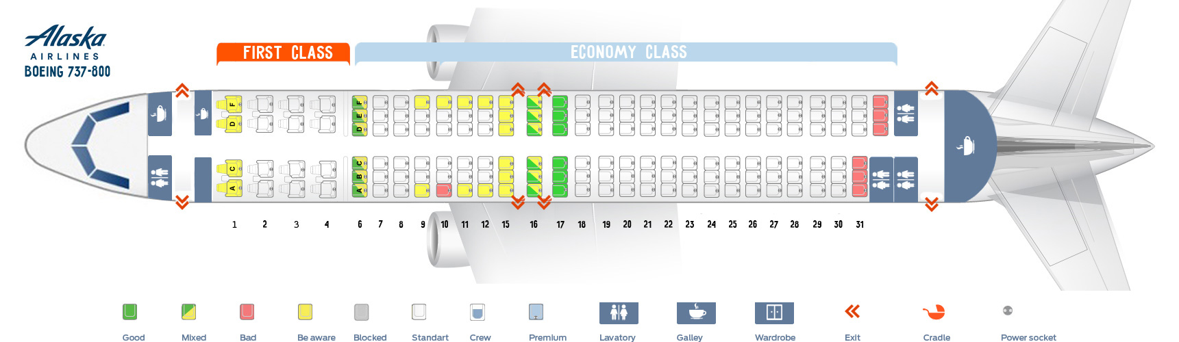 Seat map Boeing 737-800 Alaska Airlines