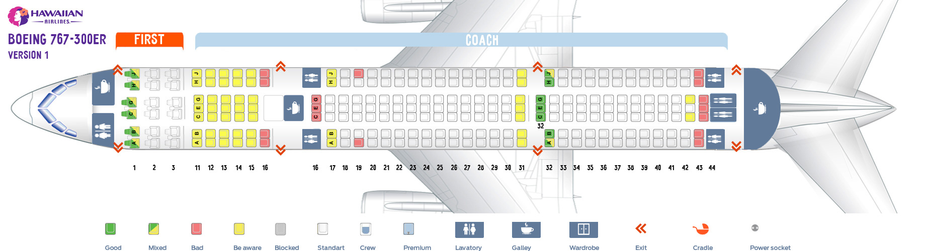 Seat map Boeing 767-300 version 1 Hawaiian airlines