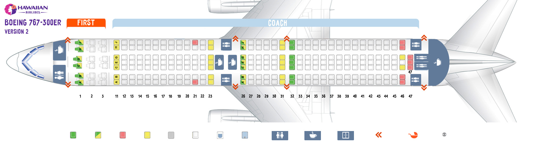 Seat map Boeing 767-300 2 version Hawaiian airlines