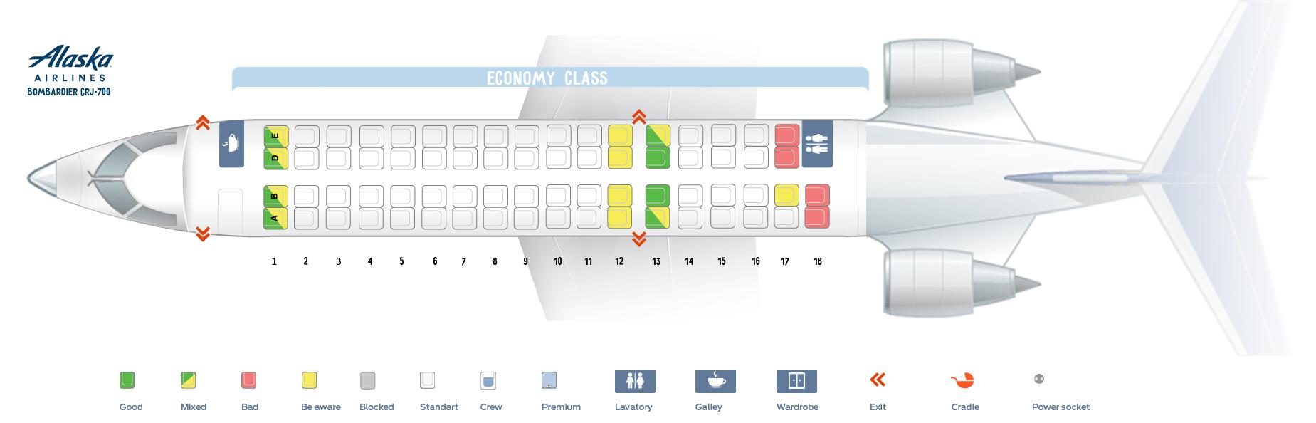 Seat map Bombardier CRJ-700 Alaska Airlines