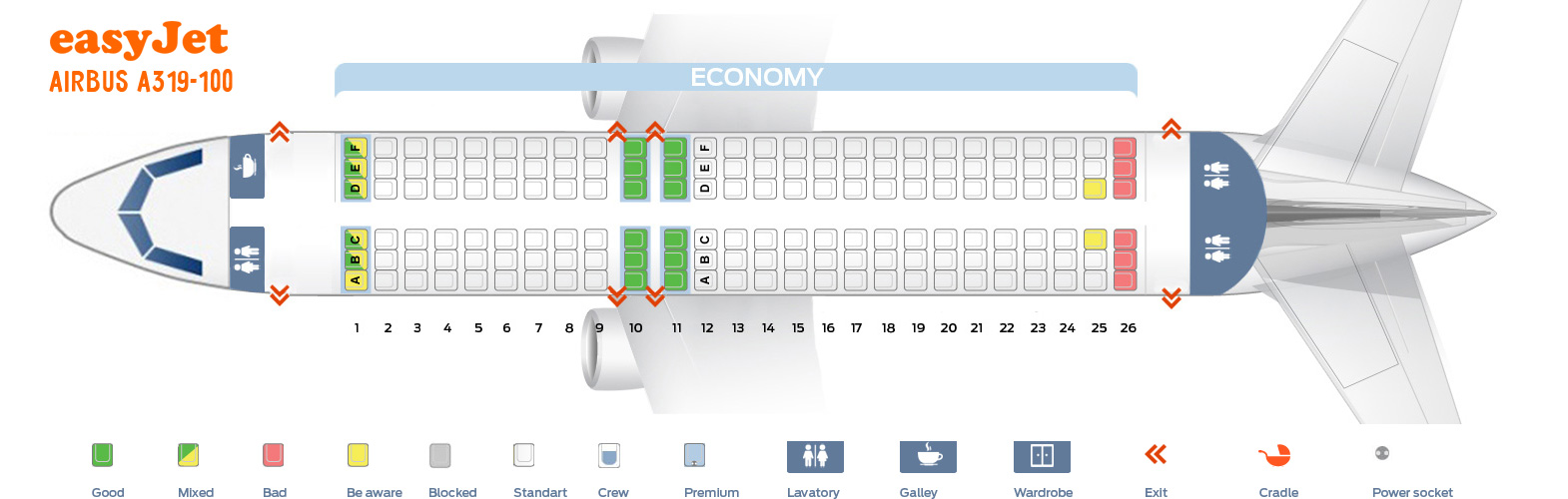 Easyjet Seat Map Seat map Airbus A319 100 Easyjet. Best seats in the plane Easyjet Seat Map