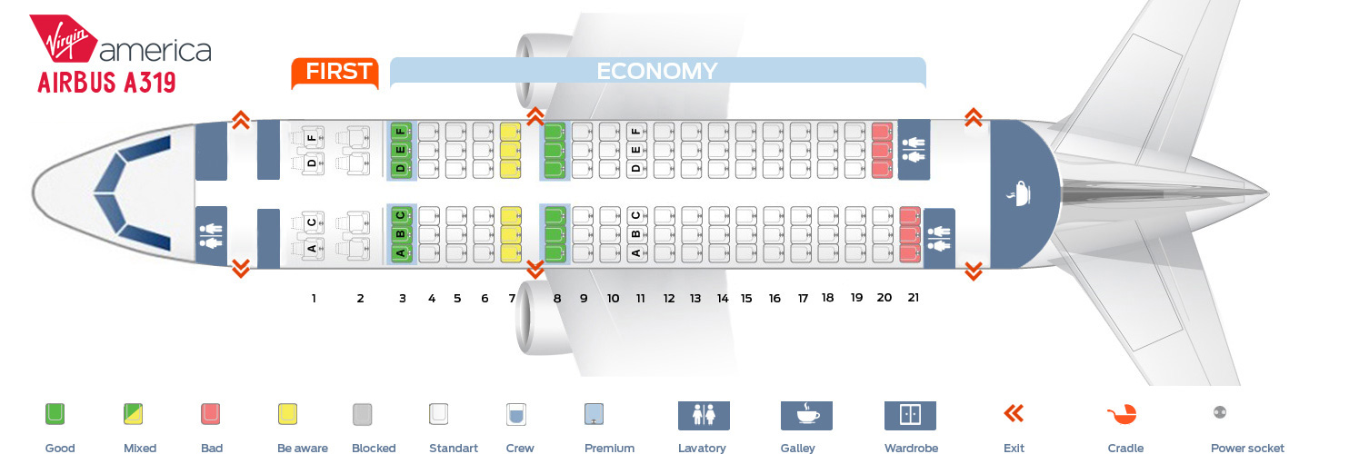 Seat map Airbus A319 Virgin America
