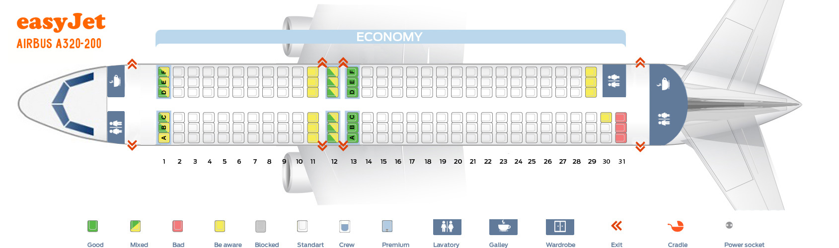 Seat Map Airbus A320 Easyjet Best Seats In The Plane