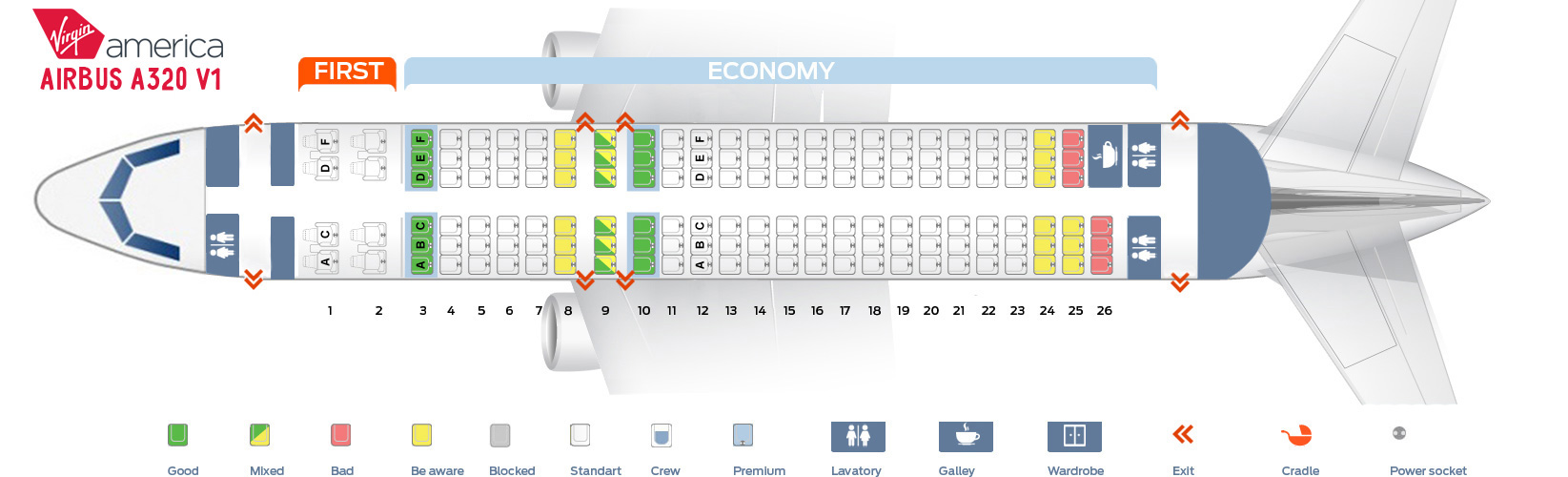 Seat map Airbus A320 version 1 Virgin America