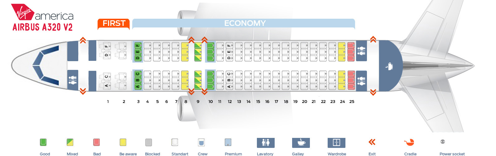 Seat map Airbus A320 version2 Virgin America