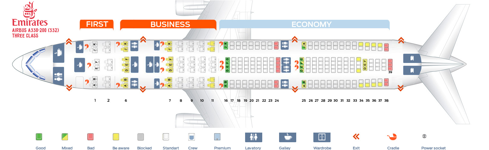 Seat Map Airbus A330-200 Three Class