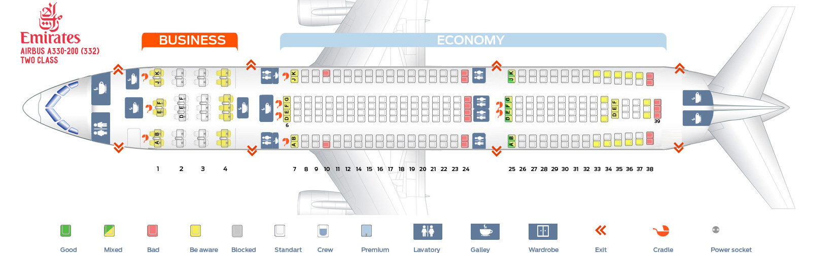 Seat Map Airbus A330-200 Two Class