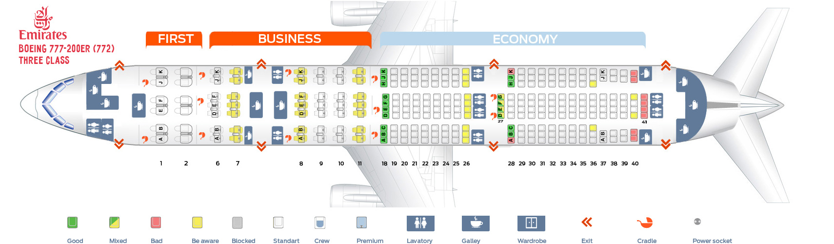 Seat Map Boeing 777-200ER Three class Emirates
