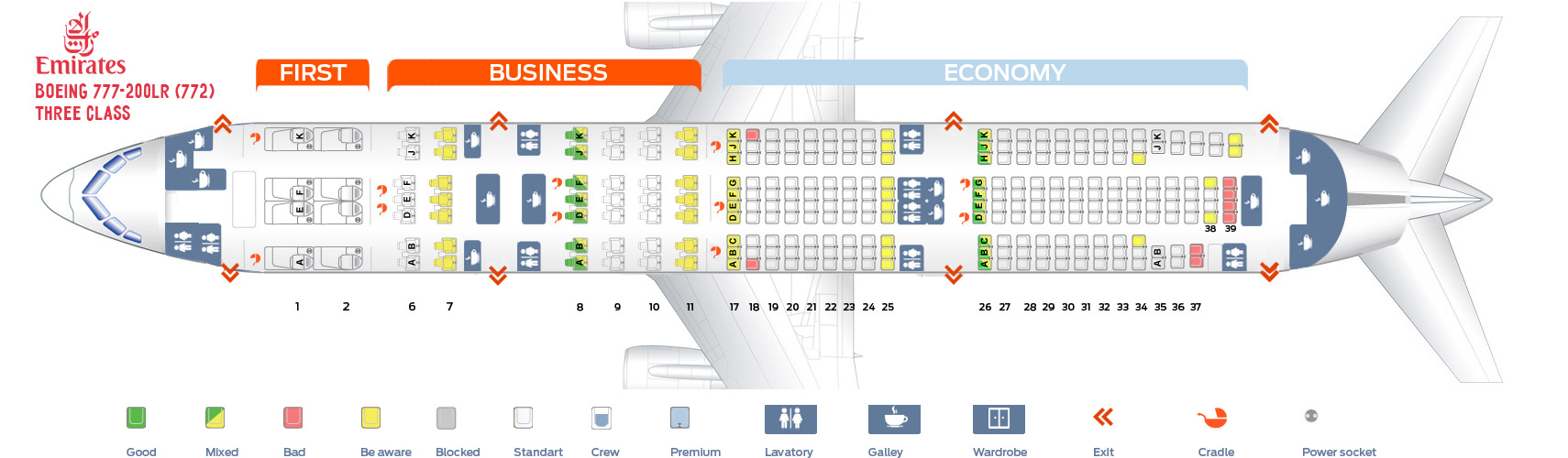 Seat Map Boeing 777-200LR Three class Emirates
