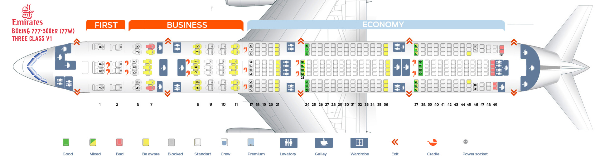 Seat Map Boeing 777-300ER Three class V1 Emirates