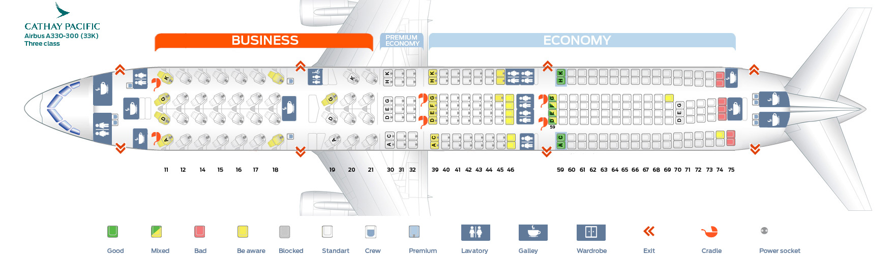 Seat Map Airbus A330-300 Three Class