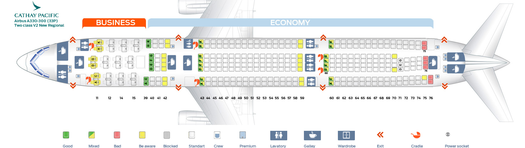 Seat Map Airbus A330-300 Two class V2 New regional