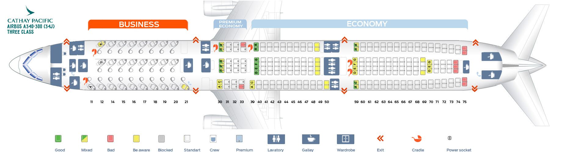 Seat Map Airbus A340-300 Three class Qathay Pacific