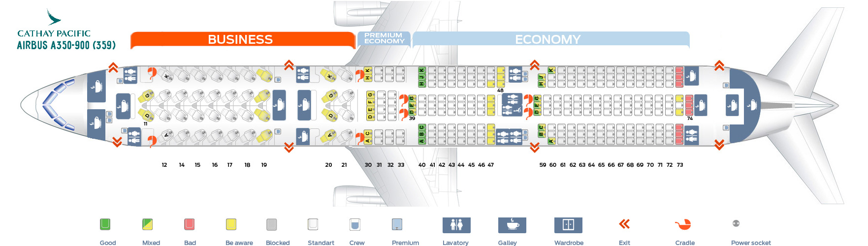 Seat Map Airbus A350-900 Qathay Pacific
