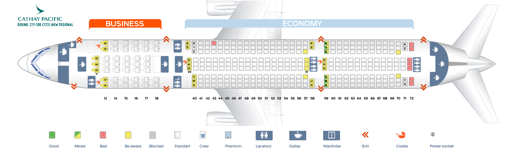 Seat Map Boeing 777-200 New-Regional Cathay Pacific