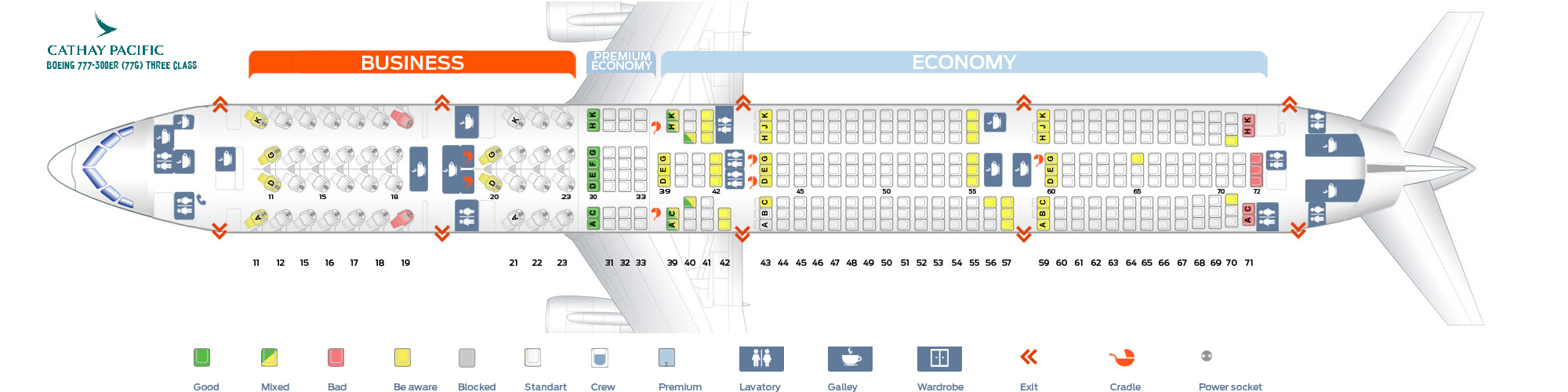 Seat Map Boeing 777-300ER Three class Cathay Pacific