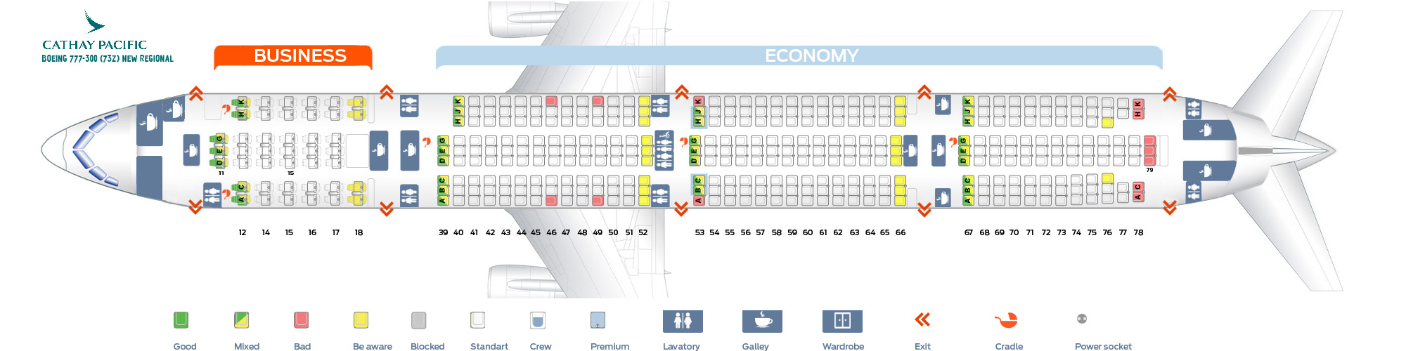 Seat Map Boeing 777-300 New Regional Cathay Pacific