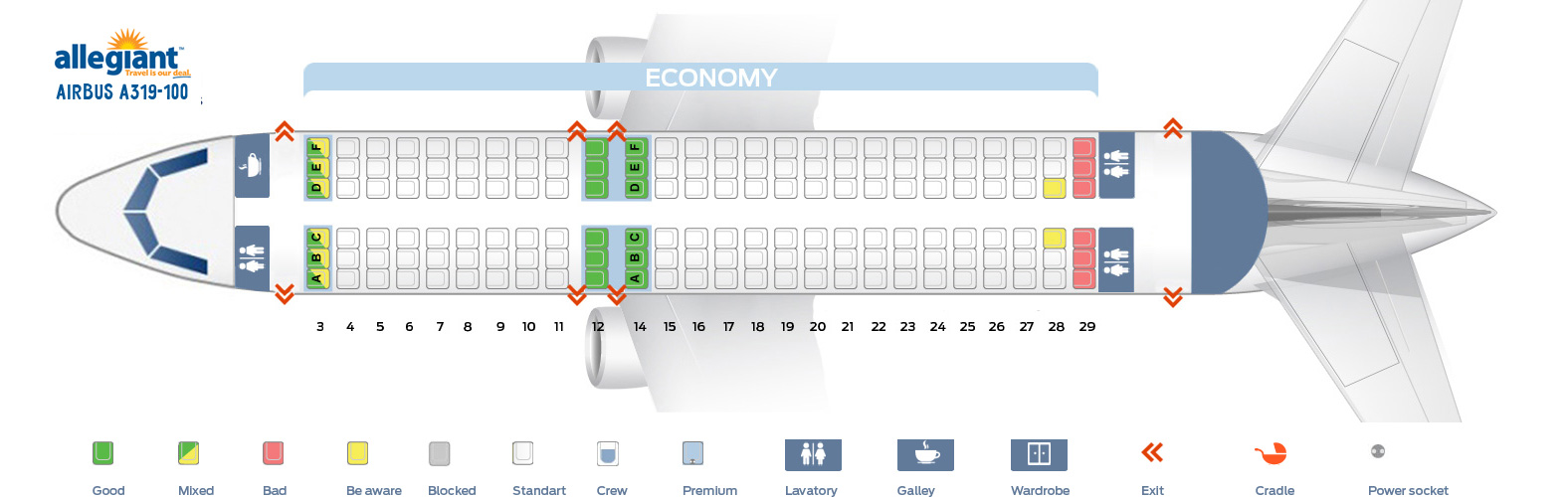 Seat Map Airbus A319 Allegiant Air