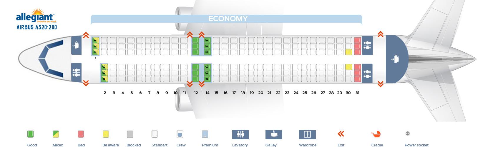 Mapa de asientos Airbus A320 Allegiant Air