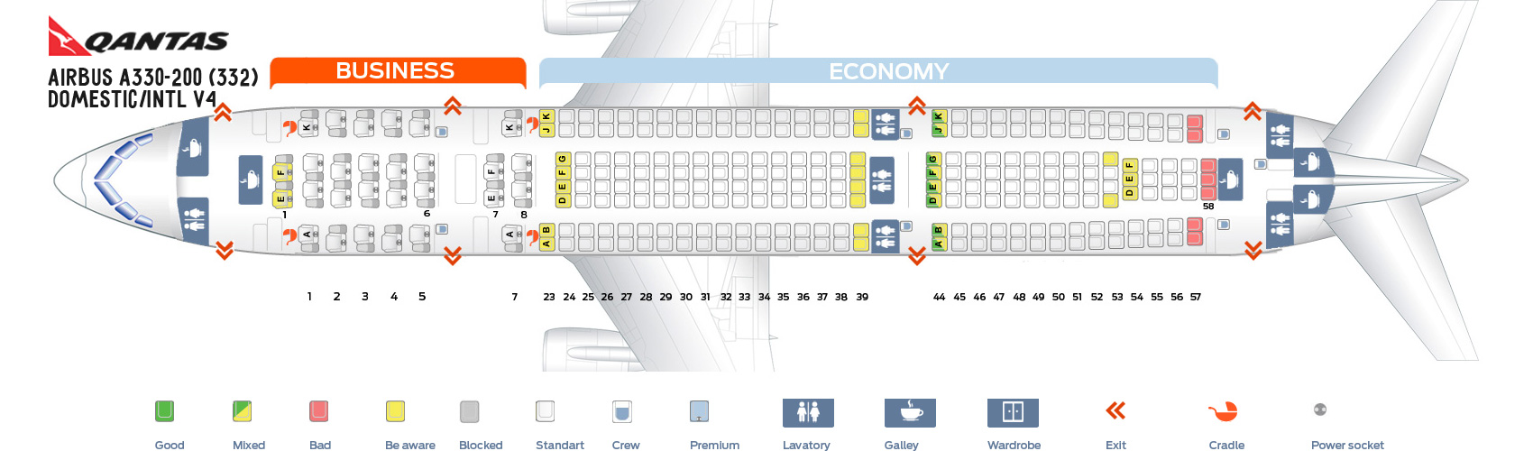 Seat Map Airbus A330-200 Domestic-Intl V4 Qantas Airways