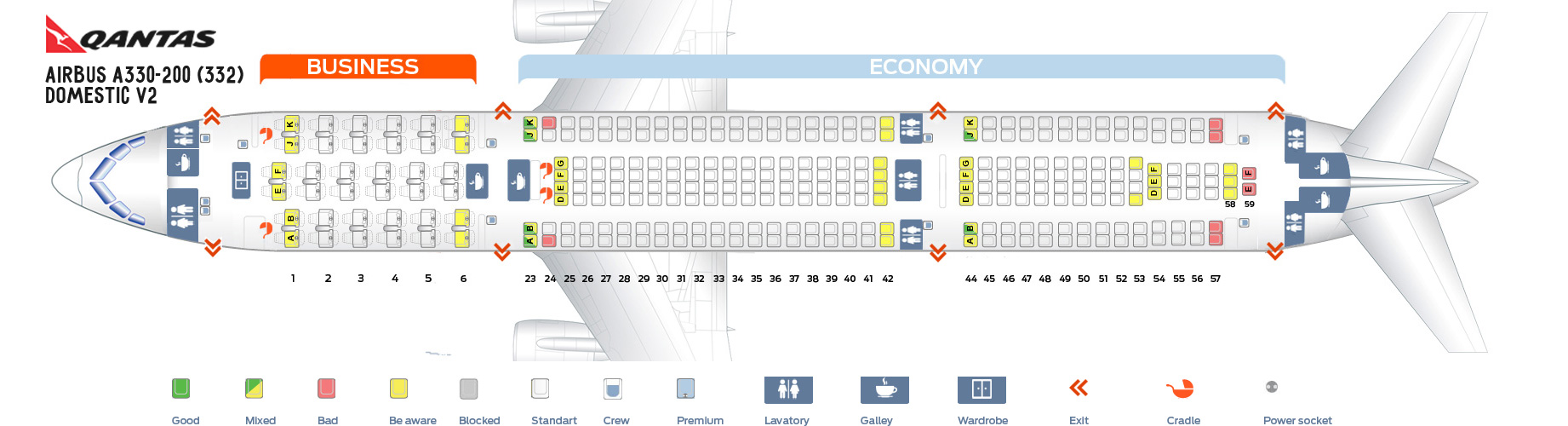 Seat map Airbus A330-200 Qantas Airways  Best seats in the plane