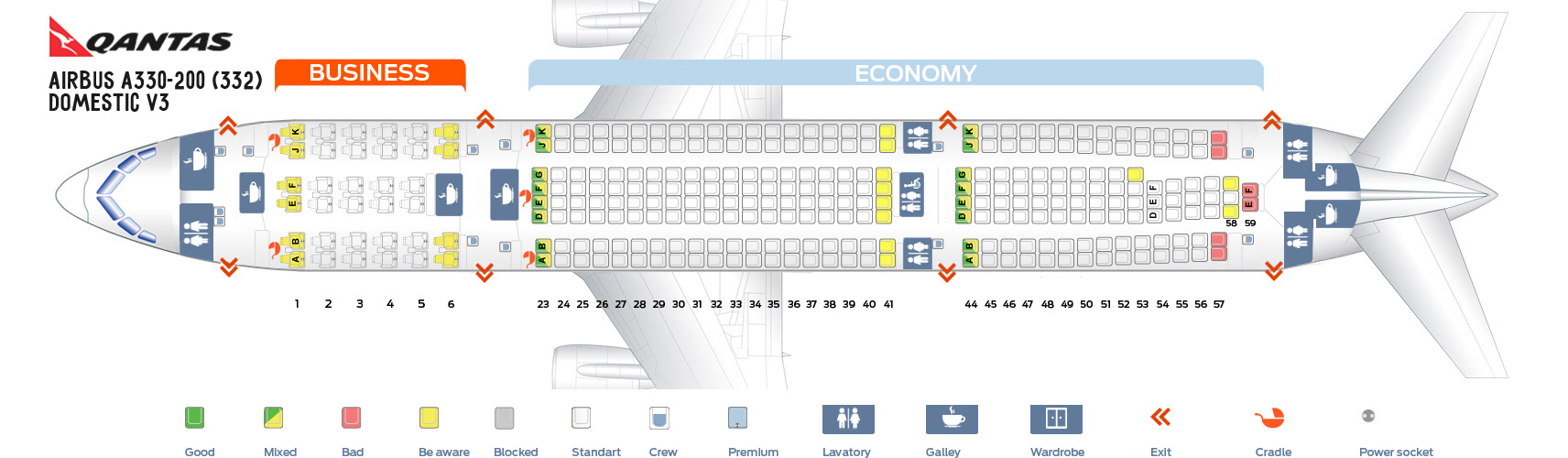 Seat Map Airbus A330-200 Domestic V3 Qantas Airways