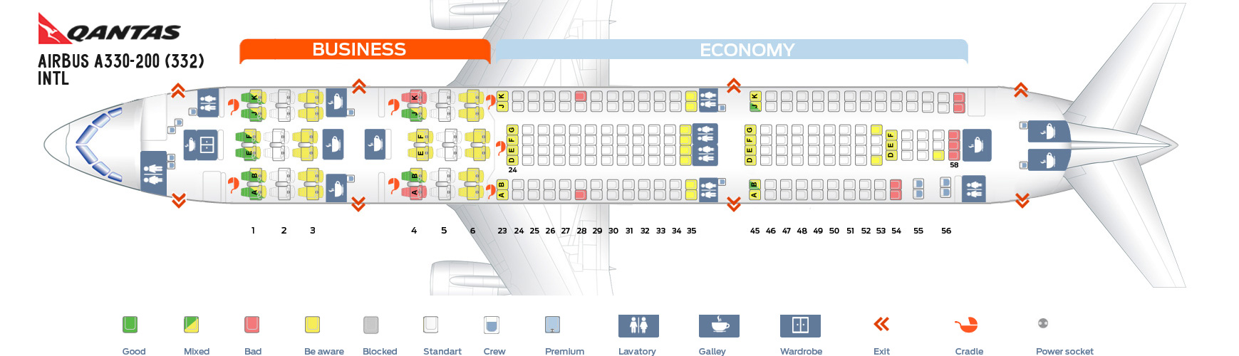 Seat Map Airbus A330-200 Intl Qantas Airways