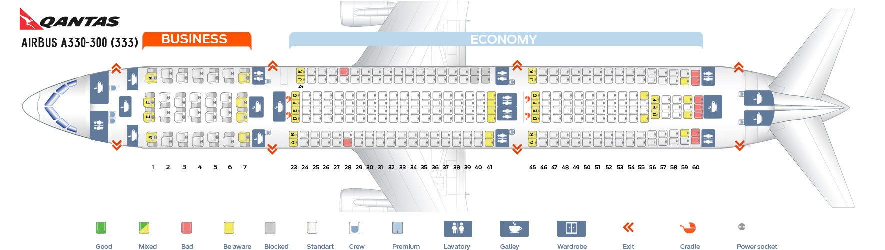 Seat Map Airbus A330-300 Qantas Airways