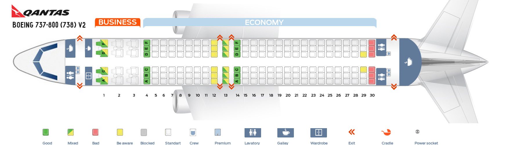 Seat Map Boeing 737-800 V2 Qantas Airways