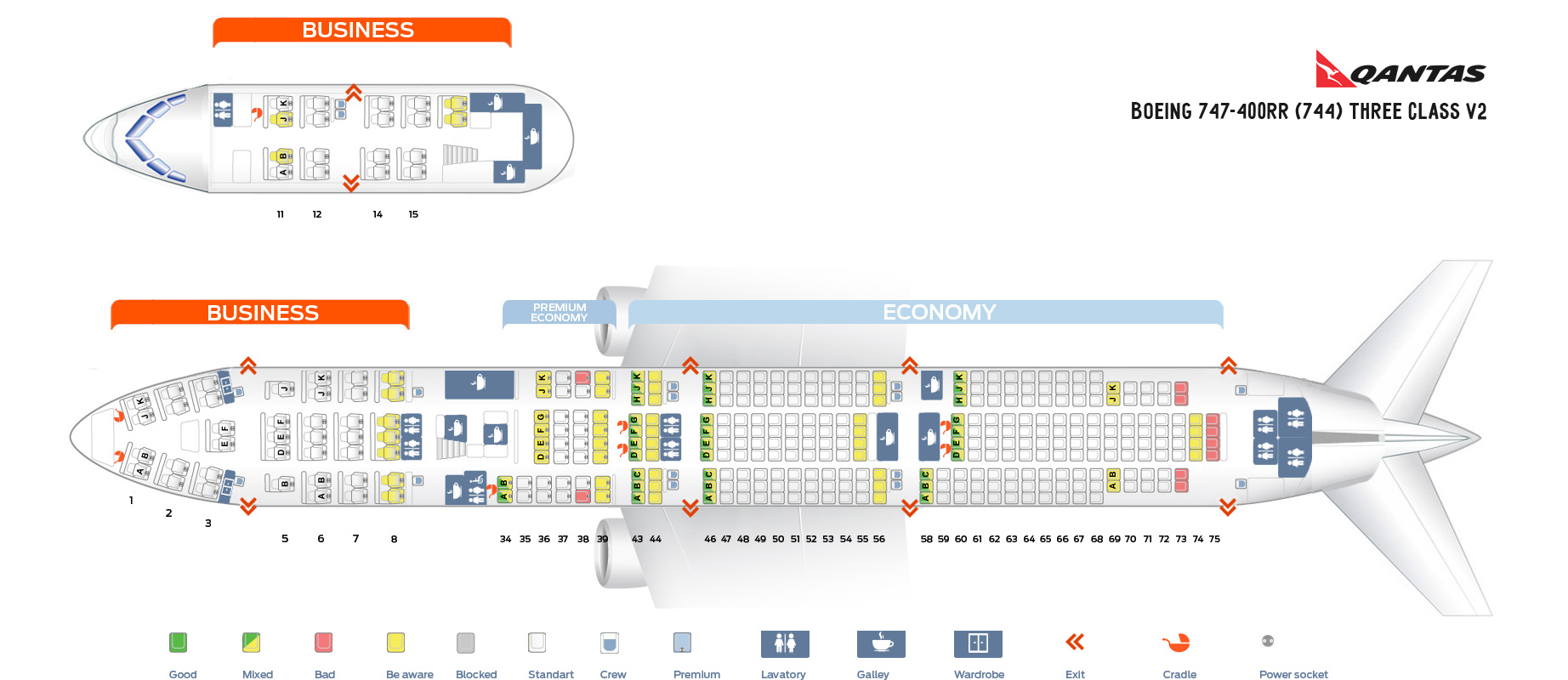 Seat Map Boeing 747-400RR Three class V2 Qantas Airways