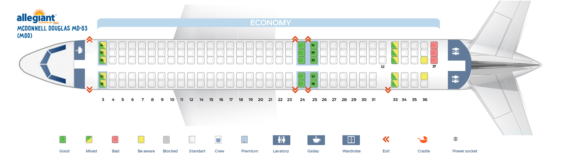 Seat Map Mcdonnell Douglas Md 83 Allegiant Air Best Seats In The Plane