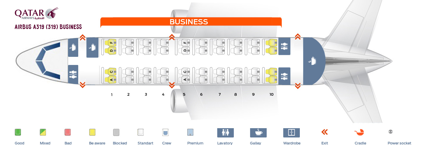 Seat Map Airbus A319-100 Business Qatar Airways