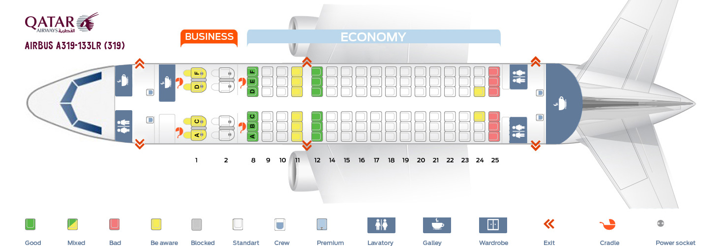 Seat Map Airbus A319-133LR Qatar Airways