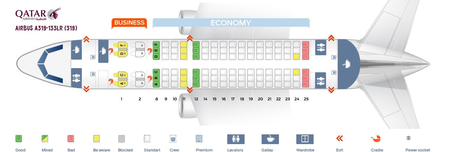 Seat Map Airbus A319-133LR Qatar Airways