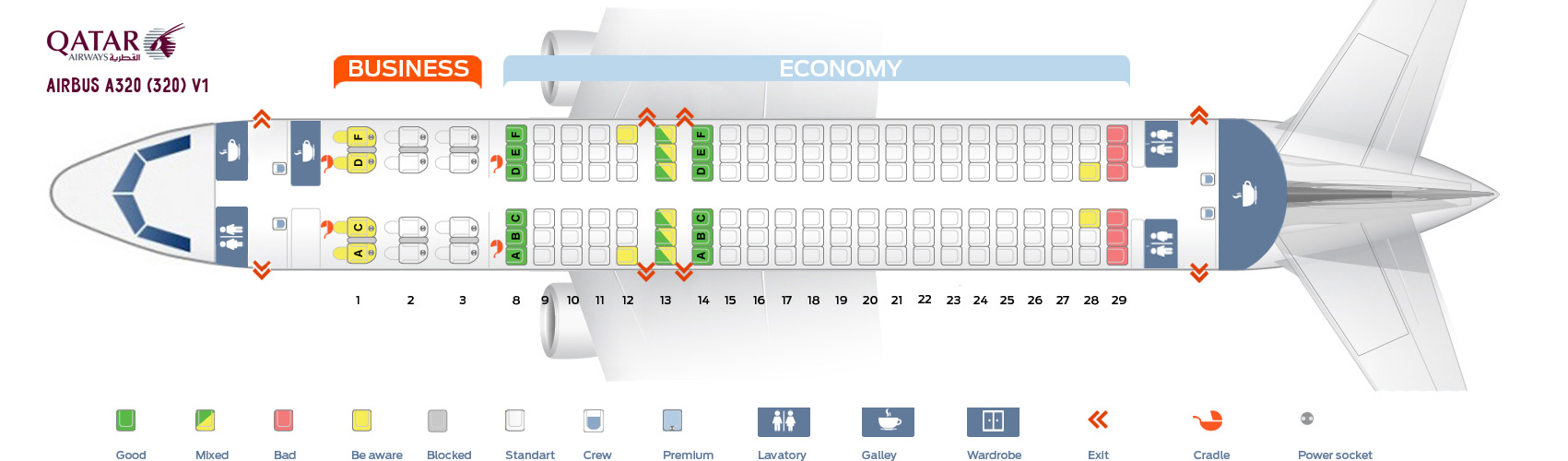 Seat Map Airbus A320-200 V1 Qatar Airways