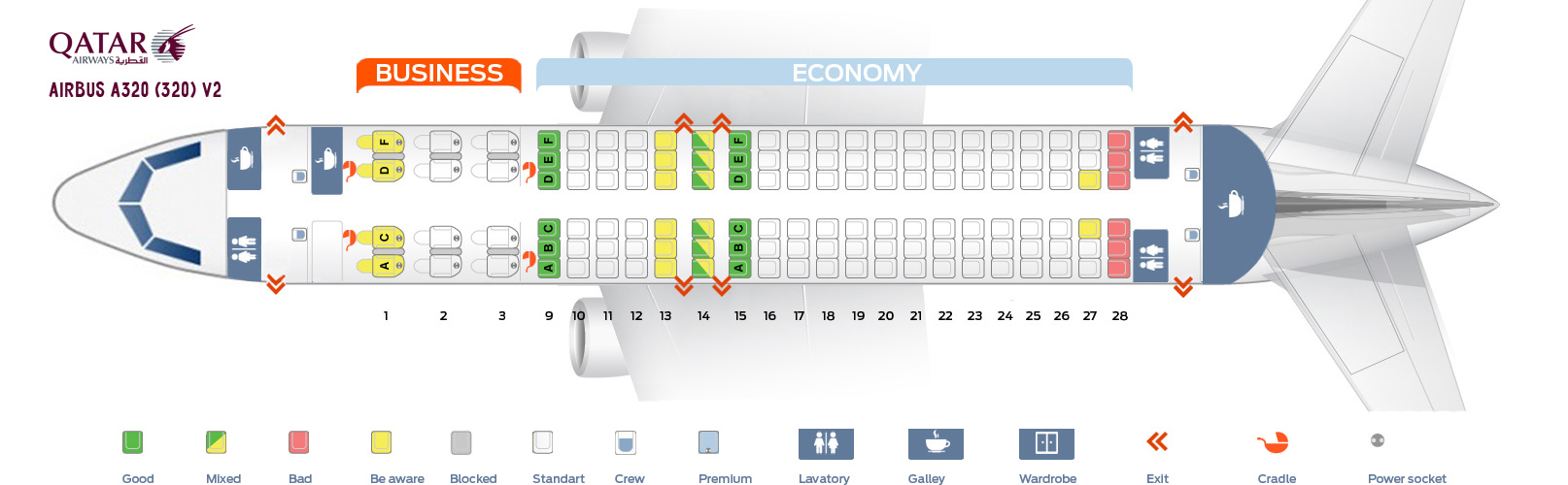 Seat Map Airbus A320-200 V2 Qatar Airways