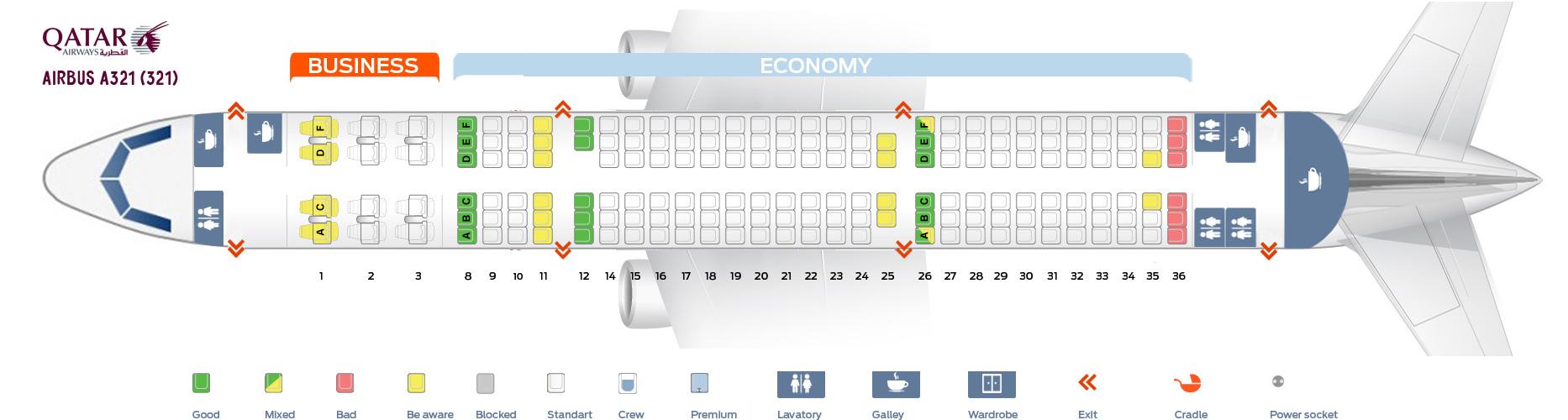 Seat Map Airbus A321-200 Qatar Airways