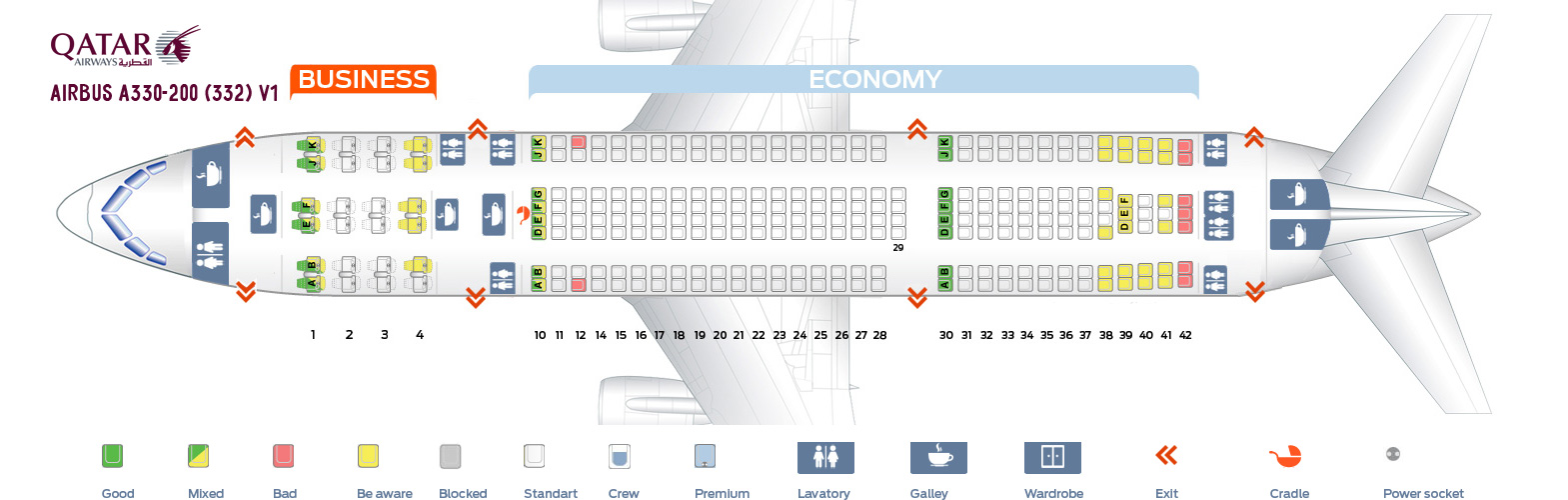 Seat Map Airbus A330-200 V1 Qatar Airways
