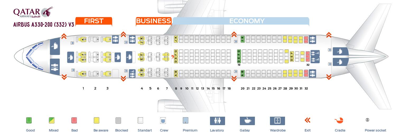Qatar Airways Seat Map Seat map Airbus A330 200 Qatar Airways. Best seats in the plane