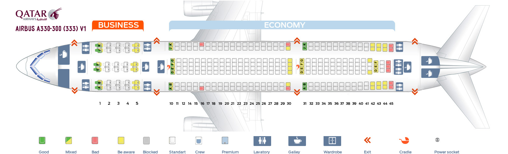 A330 300 Seat Map Seat map Airbus A330 300 Qatar Airways. Best seats in the plane
