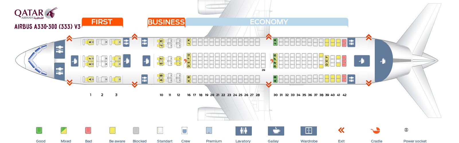 Seat Map Airbus A330-300 V3 Qatar Airways