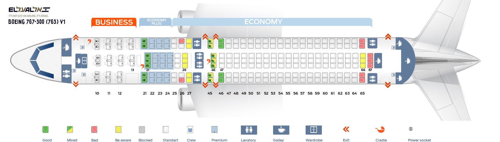 Seat Map Boeing 767-300 (763) V1 EL AL