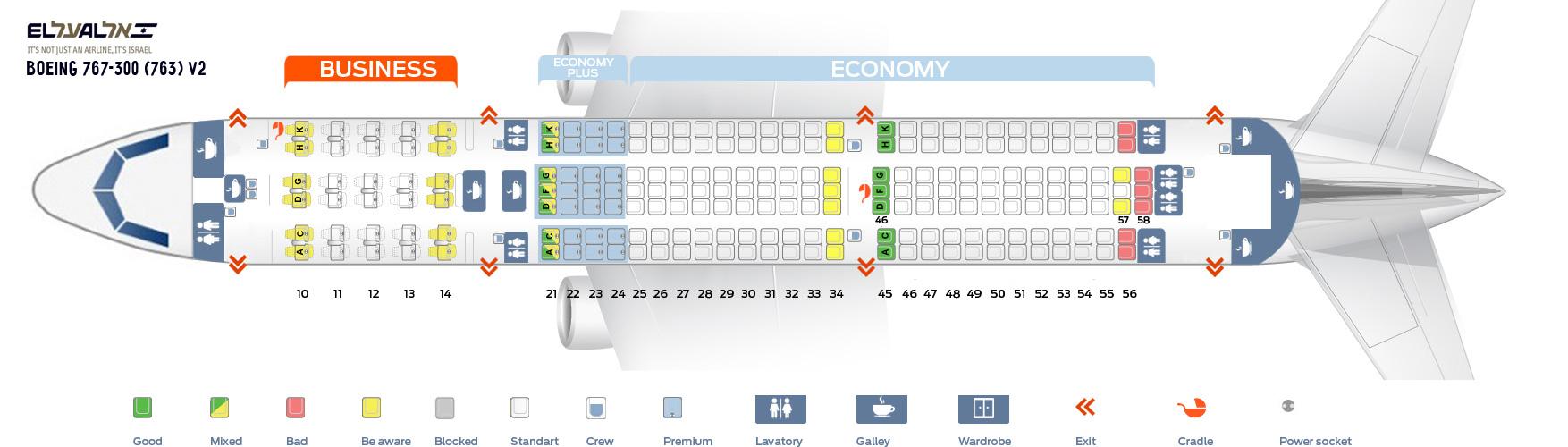 Seat Map Boeing 767-300 (763) V2 EL AL