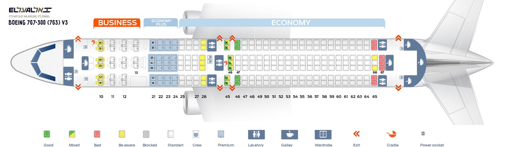 Seat Map Boeing 767-300 (763) V3 EL AL