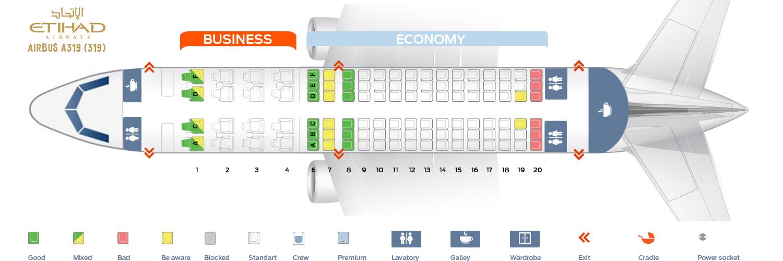 Seat Map Airbus A319-100 Etihad Airways