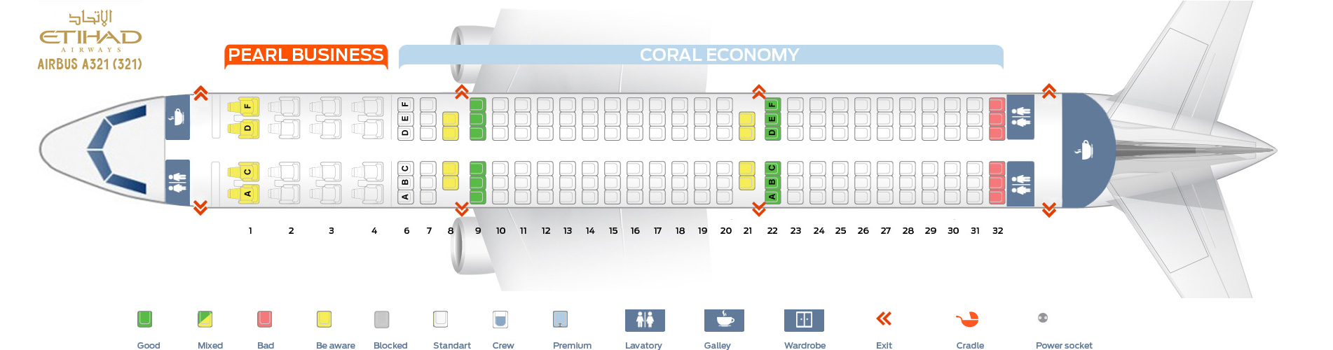 Seat Map Airbus A321-200 Etihad Airways