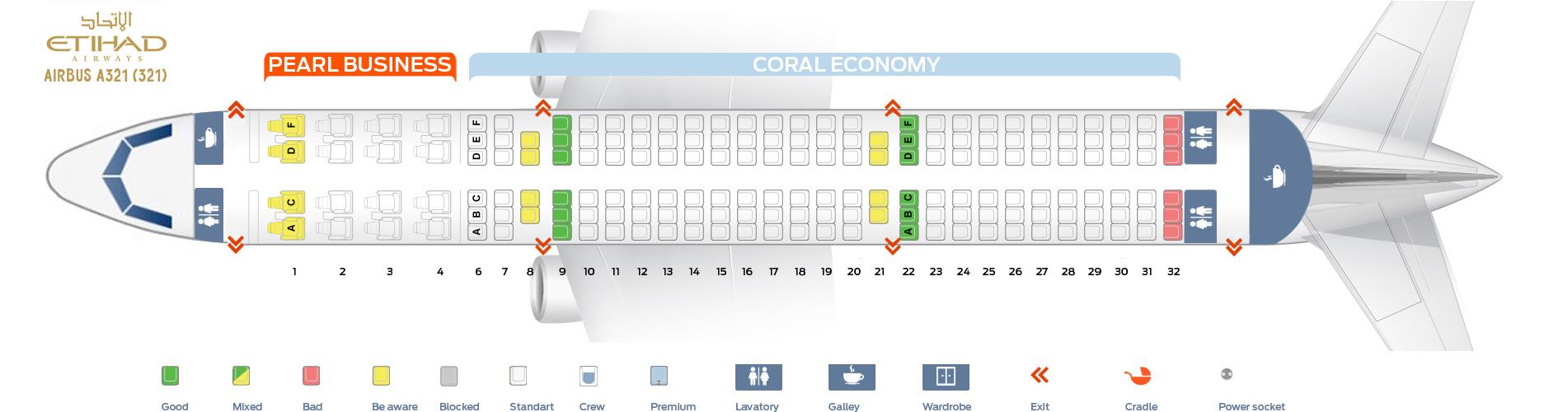 Seat Map Airbus A321-200 Etihad Airways