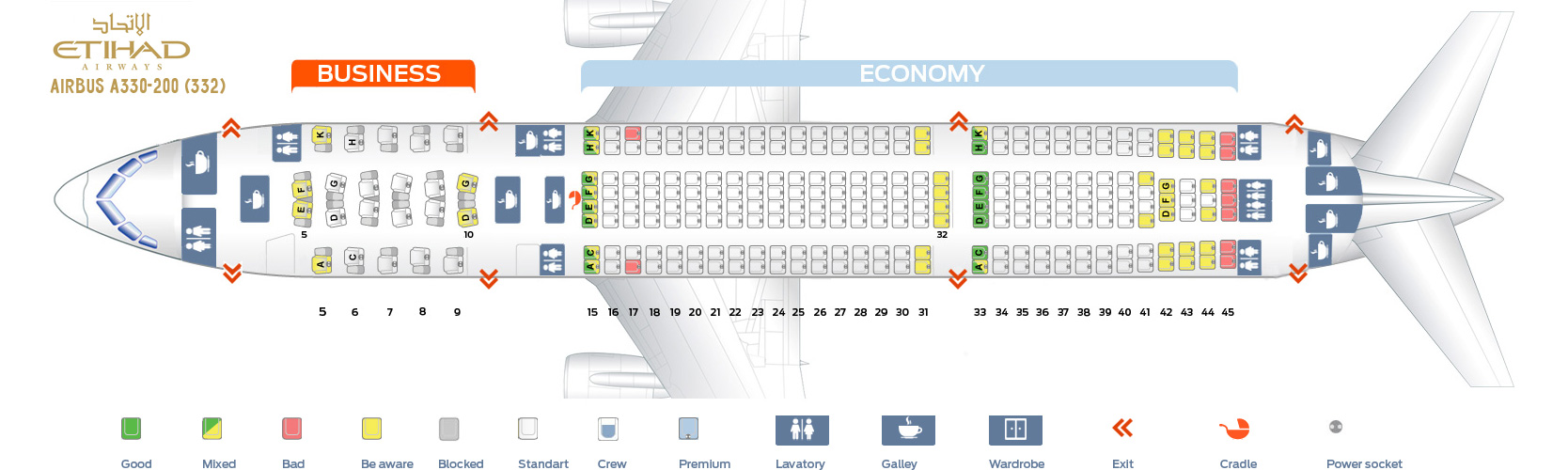 Seat Map Airbus A330-200 Etihad Airways